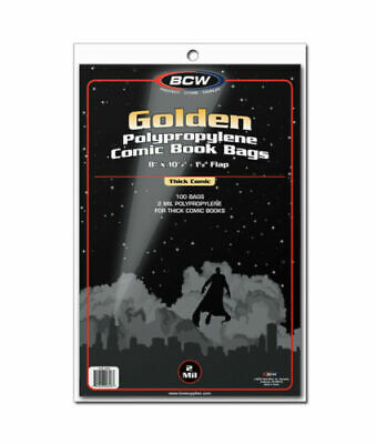 BCW Golden Age Thick Comic Book Bags / Sleeves Pack of 100