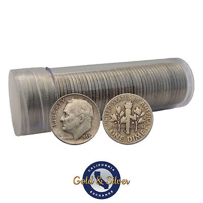 $5 Face Value Roosevelt Dimes 90% Silver 50-Coin Roll (Circulated)