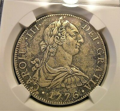 ✔ 1776 FM Mexico 8 Reales Silver Mexico City NGC XF American Independence Toned!