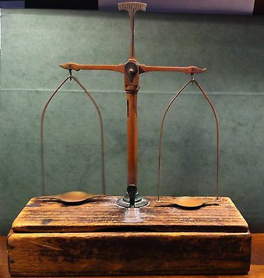 Antique Brass Scale Balance Wood Boxtop Mount Jeweler Gold with Weights