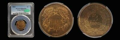1864 2C Large Motto Two Cent Piece PCGS MS66RB (CAC)