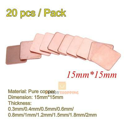 20pcs 15mmx15mmx0.3mm Heatsink Copper Shim Thermal Pads for Laptop GPU CPU VGA