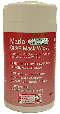 """Mada CPAP Mask Wipes Unscented 5"""" x 8"""" 62 Wet Wipes ~NEW~ **Free Shipping**"""
