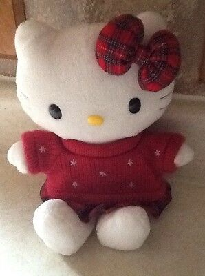 """11"""" Sanrio Hello Kitty Red Star Sweater  Red Plaid Skirt Plush Stuffed Doll Toy"""