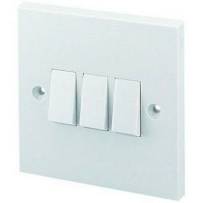 3 Gang Plate Wall Switch 2 Way White Electrical Light Switches with Screws UK