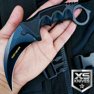Tactical Combat Karambit Survival Hunting Bowie Fixed Blade Neck Knife W/ Sheath