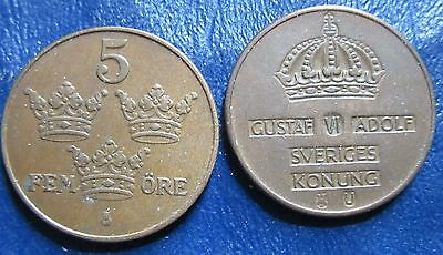 SWEDEN    5  Ore    1950 AND 1963    BRONZE  COINS