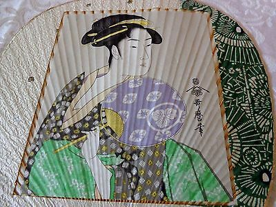 Vintage Japanese Rigid Hand Held Paper Fan with Geisha Girl