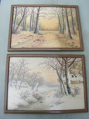 Antique Pair Of Japanese Needlepoint Embroidery Tapestry Pictures