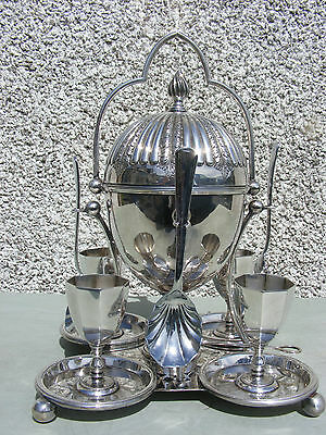 Antique Silver Plate Egg Coddler & Egg Cups