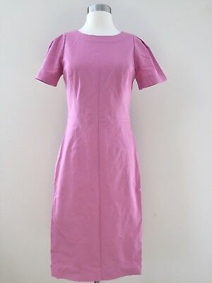 J.Crew gathered-sleeve dress two-way stretch cotton G1180 10 Pink $185