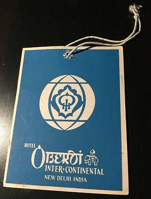Vintage Luggage Tag Hotel Oberoi Intercontinental New Delhi India