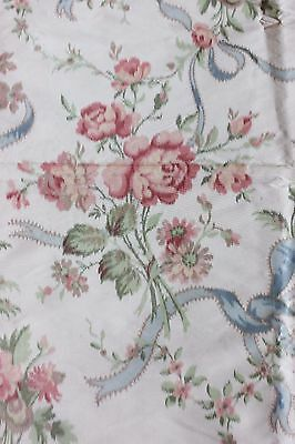 "French ""Hamot"" Antique 19thC Silk Warp Printed Roses&Ribbons Fabric 1yd19""LX51""W"