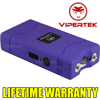 VIPERTEK PURPLE VTS-880 390 MV Mini Rechargeable LED Police Stun Gun Taser Case