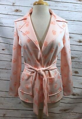 Vintage 70s Orange Novelty Floral Print Belted Cardigan Jacket Blazer Womens S/M