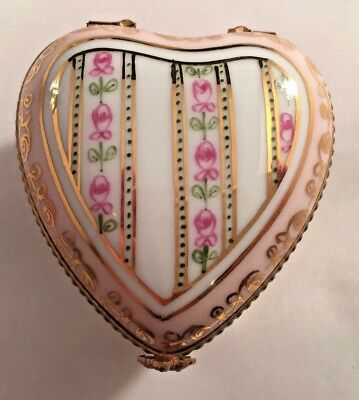 puffy heart procelain box..special box for a special person pink..hand painted