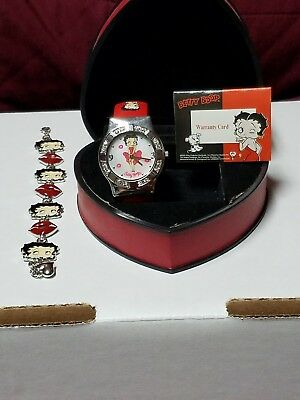 Betty Boop Watch with Red Band and Bracelet set - PRE-OWNED in Heart Box