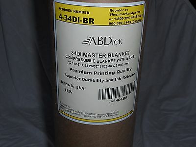 4 ABDick 34DI Master Compressible Blanket with Bars for Printing New