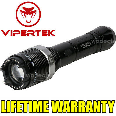 VIPERTEK VTS-T01 Metal 960 MV Stun Gun Rechargeable LED Flashlight + Taser Case