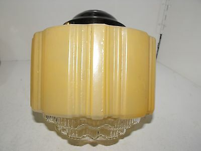 Original Art Deco Yellow With Clear Diffuser Light Shade With Bakelite Fitting