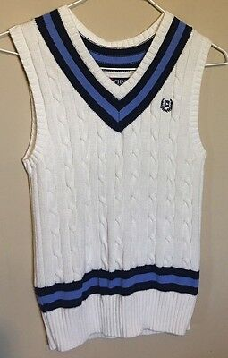 Pre-Owned Chaps Boys Size S (8) White Blue V-Neck Sweater Vest Cable Knit Top
