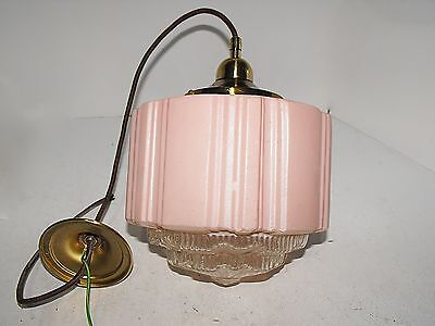 Original Art Deco Pink With Clear Diffuser Light Shade With Brass Fittings