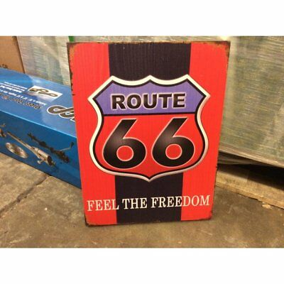 Route 66 Feel The Freedom Wooden Sign Man Cave Garage Bar Display Dealer Hot Rod