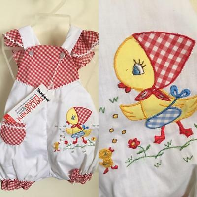 Vintage 60's Baby Romper Red Gingham Shorts Little Chick Applique NEW Girls 18M