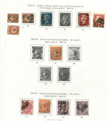 Gb Qv 1800's Stamp Collection Hinged On Sg Page Great Lot