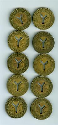 TEN(10) 1970 large Y cut out NEW YORK CITY SUBWAY TOKEN LOT. Better variety