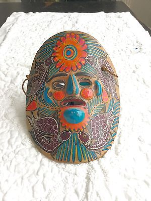 Vintage Mexican Painted Folk Art  Clay Face Mask Wall Hanging