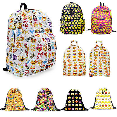 Smiley Emoji Backpack Emoticon Travel School Bags Sports Drawstring Bags Fashion