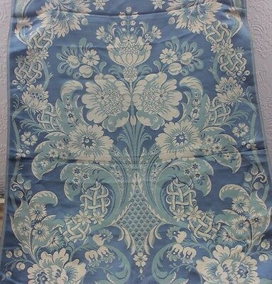"French Antique 19thC Lyon Silk Brocaded Lampas ""Hamot"" Fabric Sample~L55""X W-22"""
