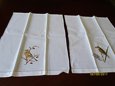 Two Machine Embroidered Napkins - Different Birds