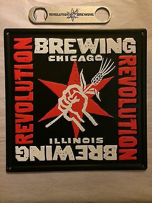 REVOLUTION BREWING Chicago Craft Beer Metal Tacker Sign WITH Speed Bottle Opener