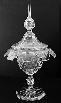 Mid-19th c. lead cut glass covered compote on foot, tall spire on lid [11282]