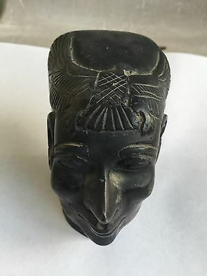 Vintage Unique Ancient Egyptian King Pharaoh Black Basalt Bust Handmade In Egypt