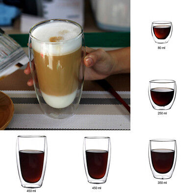 Durable Clear Handmade Heat Resistant Double Wall Glass Coffee Tea Drink Cup UK