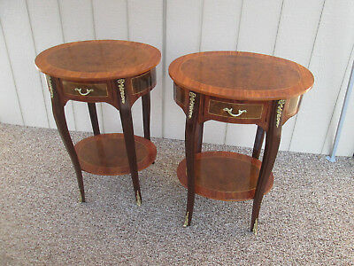 58081  Pair LOUIS XV Oval Nightstand End table Stand s