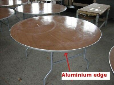"""NEW 60"""" Round Wood Folding Tables Table  W/ Aluminum Edge Party Event Rentals"""