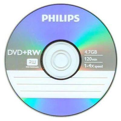 10 Philips DVD+RW 4X Logo Blank Recordable Disc 4.7GB 120Min In Paper Sleeves