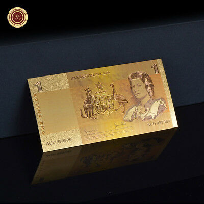 WR 24K Gold Foil Australian $1 Banknote Johnston Stone Paper Note Business Gifts