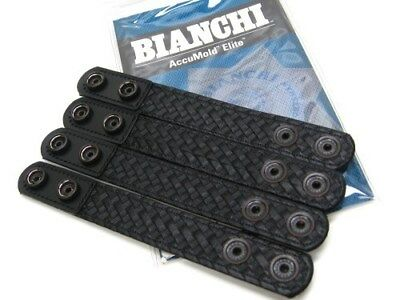 "BIANCHI Black 7906 Basketweave 1"" BELT KEEPER  w/ Hidden Snaps 4 Pack! 22091"