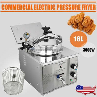 3000W Commercial Electric Countertop Pressure Fryer 16L Stainless Chicken Fish