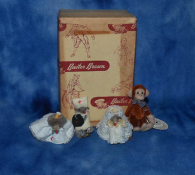 Lot Of 2 Miniature Fur Mouse Little Mouse Factory + Small Mouse Germany& Monkey