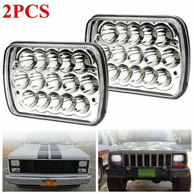 2PCS 7inch 7x6 LED HeadLight Sealed Beam Square Projector Headlight Clear Lens