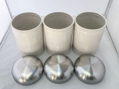Set Of 3 Tea Coffee And Sugar Canisters - New Modern Retro Kitchen Decor