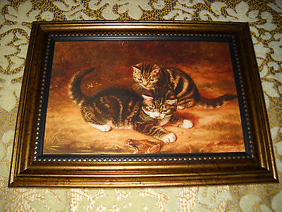 2 CATS WATCH FROG 4 X 6 gold framed picture Victorian style animal art print