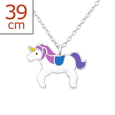 925 Sterling Silver Purple Unicorn Charm Pendant Necklace Kids Girls Jewellery