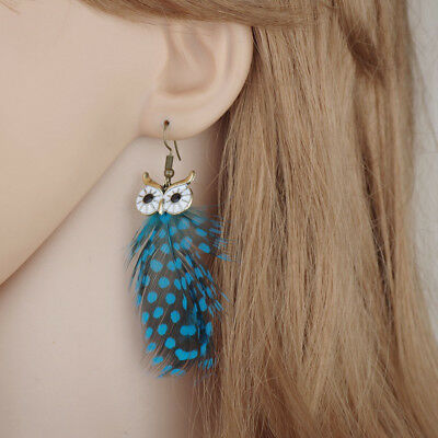 Fashion Feather Earrings Women Vintage Owl Drop Earrings Bohemian Jewelry Gift